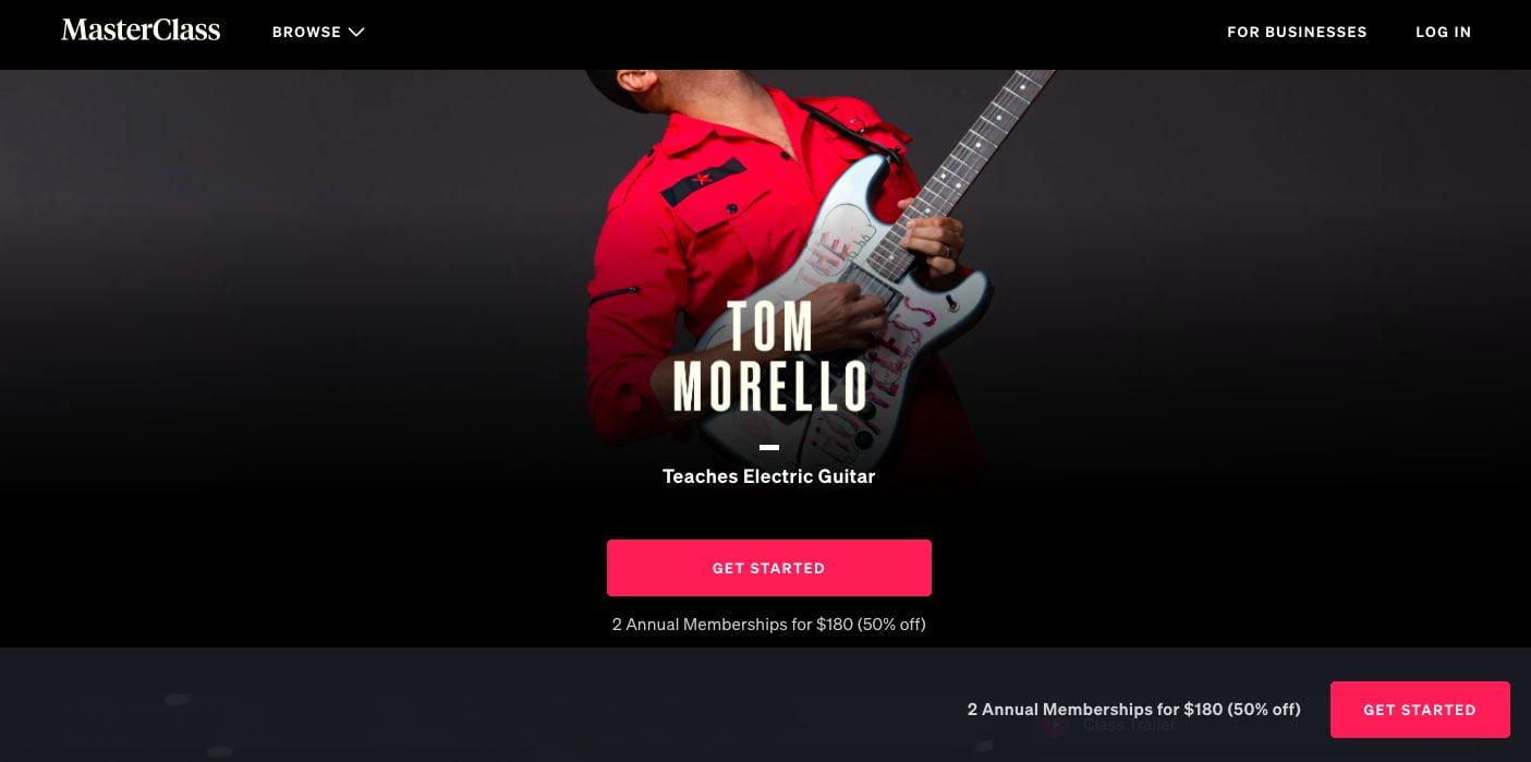 Second Tom Morello Masterclass Screen Grab