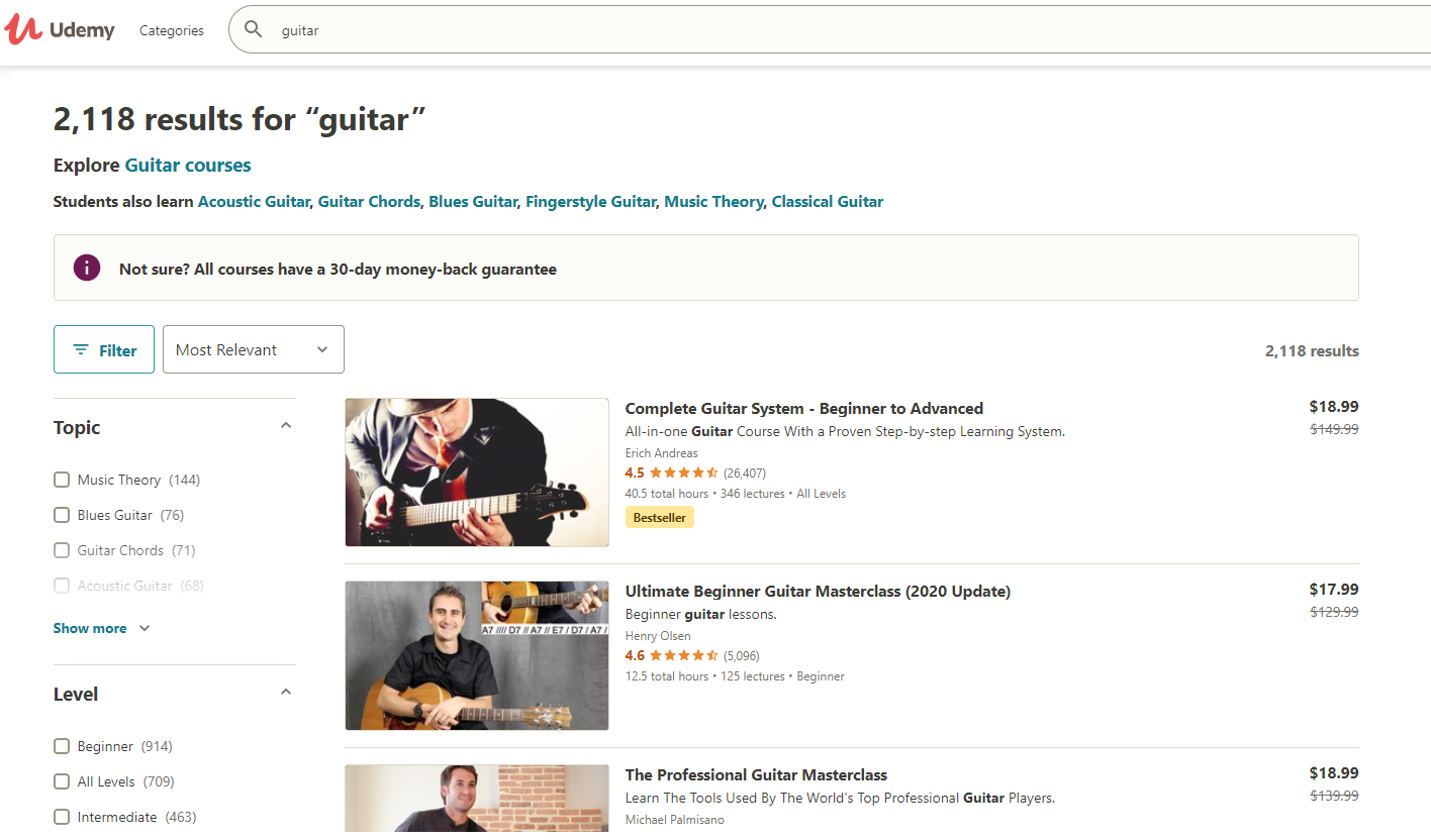 Udemy Guitar Lesson Search Results