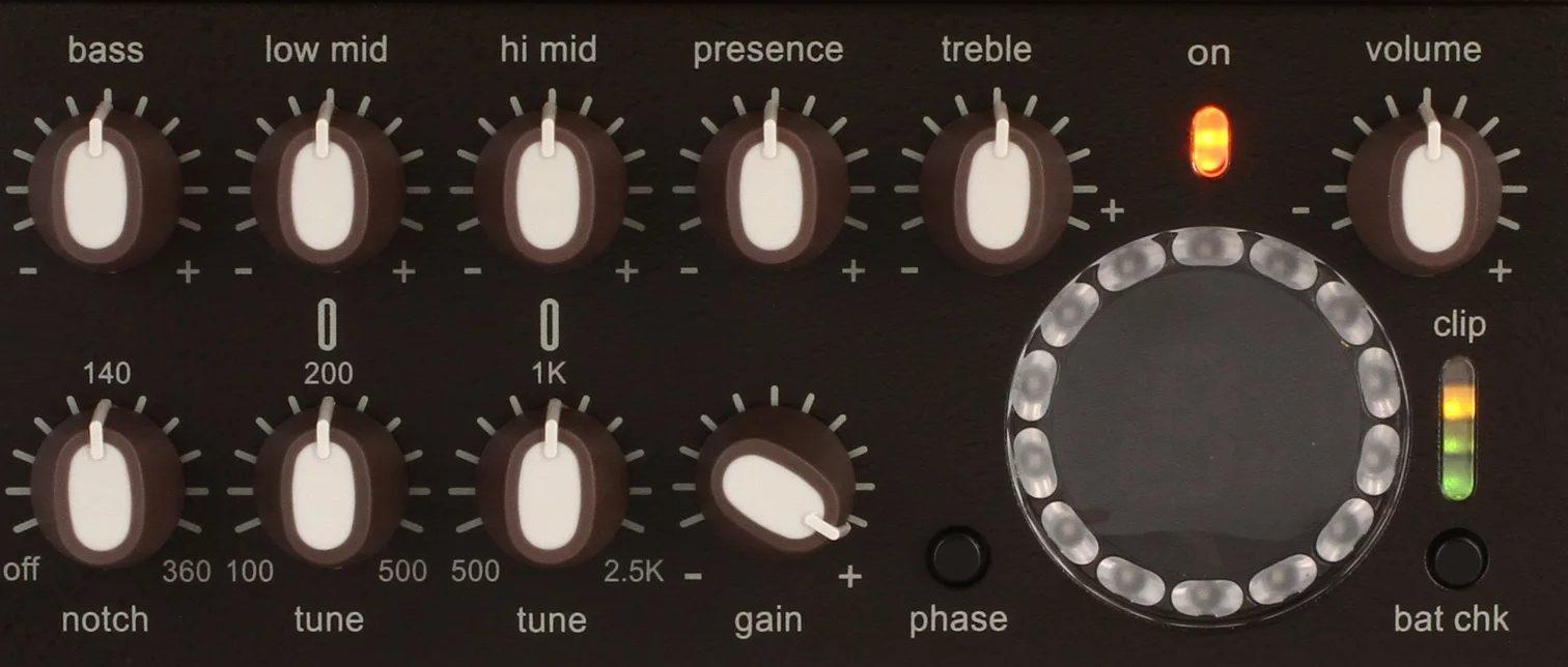 Controls on the LR Baggs Venue DI Acoustic Preamp