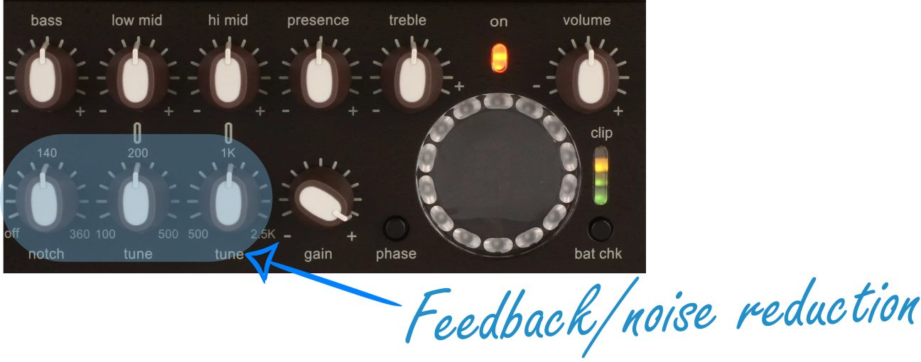 Feedback and Noise Reduction Controls on the Venue DI