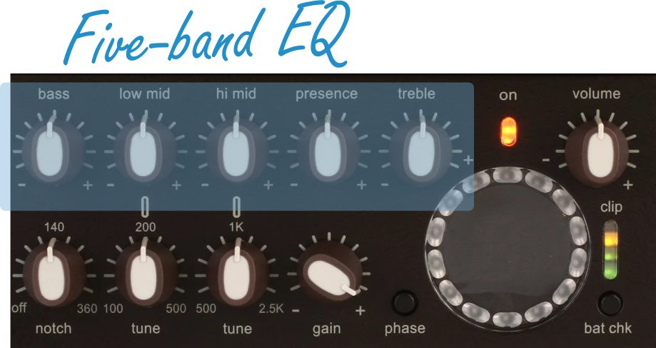 Five Band EQ Controls on the Venue DI