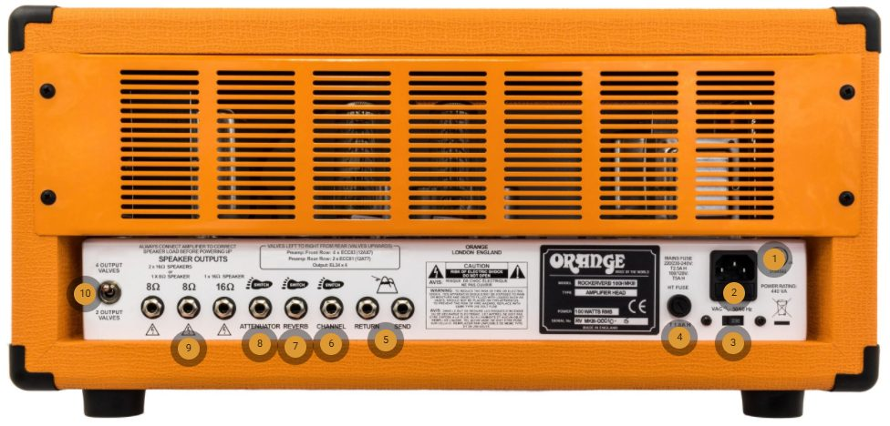 Orange Rockerverb 50 MKII Back Panel Controls
