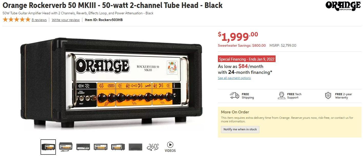 Orange Rockerverb 50 MKII Price on Sweetwater