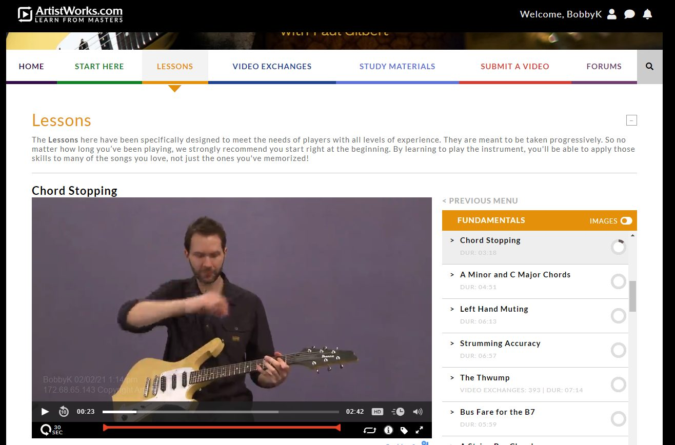 ArtistWorks Course by Paul Gilbert