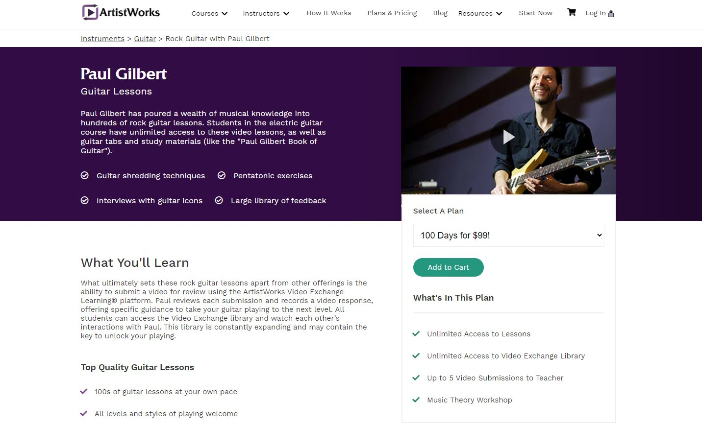 ArtistWorks Paul Gilbert Rock Course Home Page - February 2021