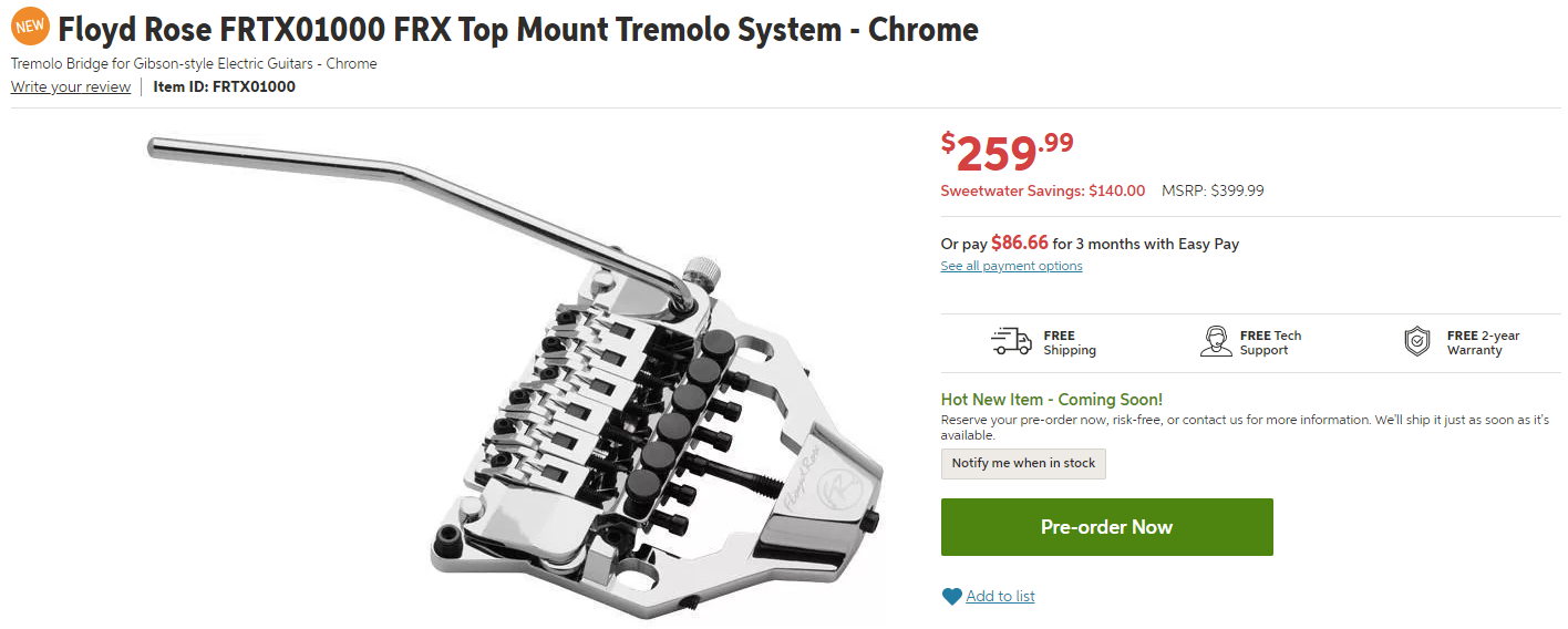 Floyd Rose FRX Top Mount Tremolo System