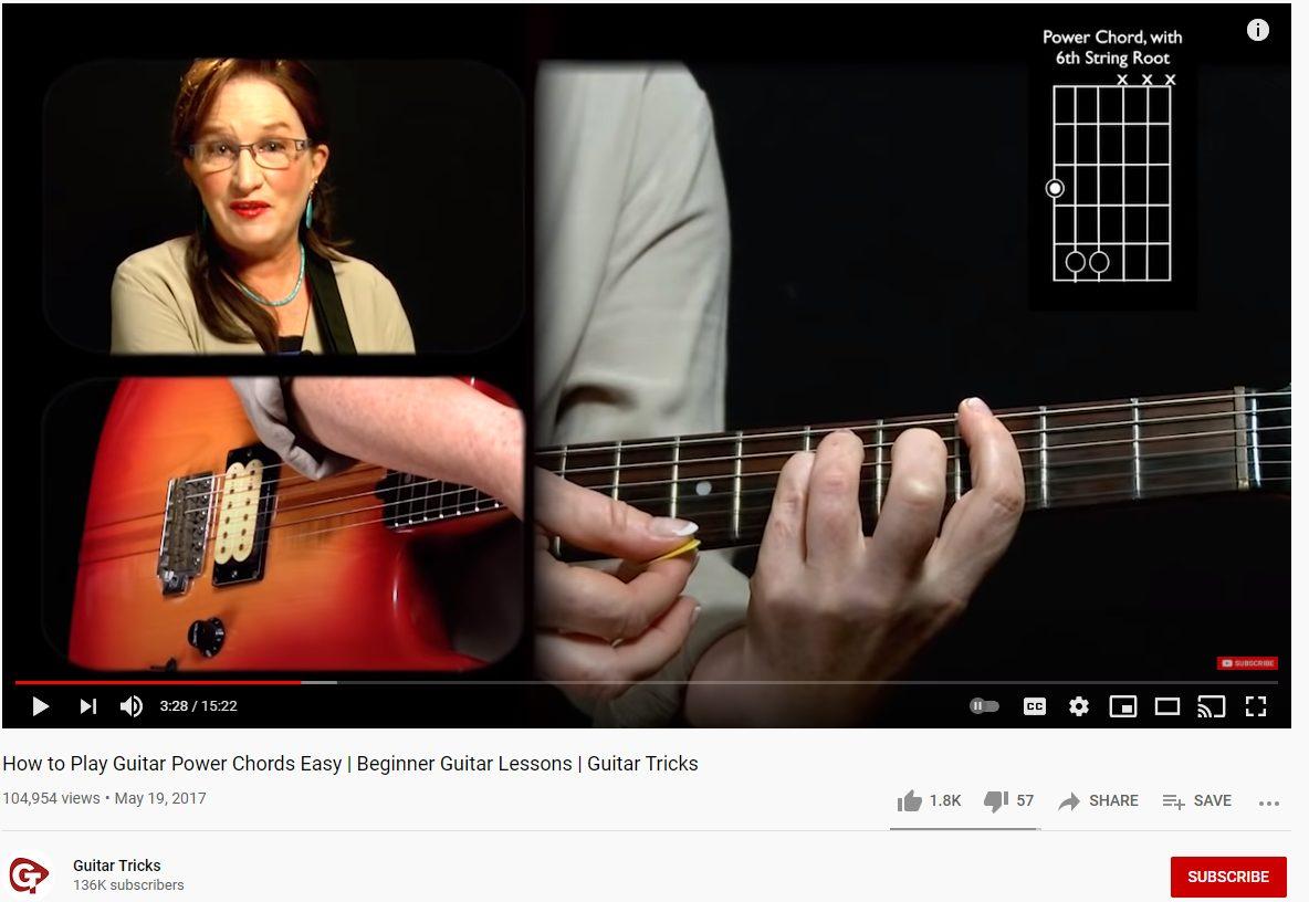 Guitar Tricks on YouTube (power chords lesson)