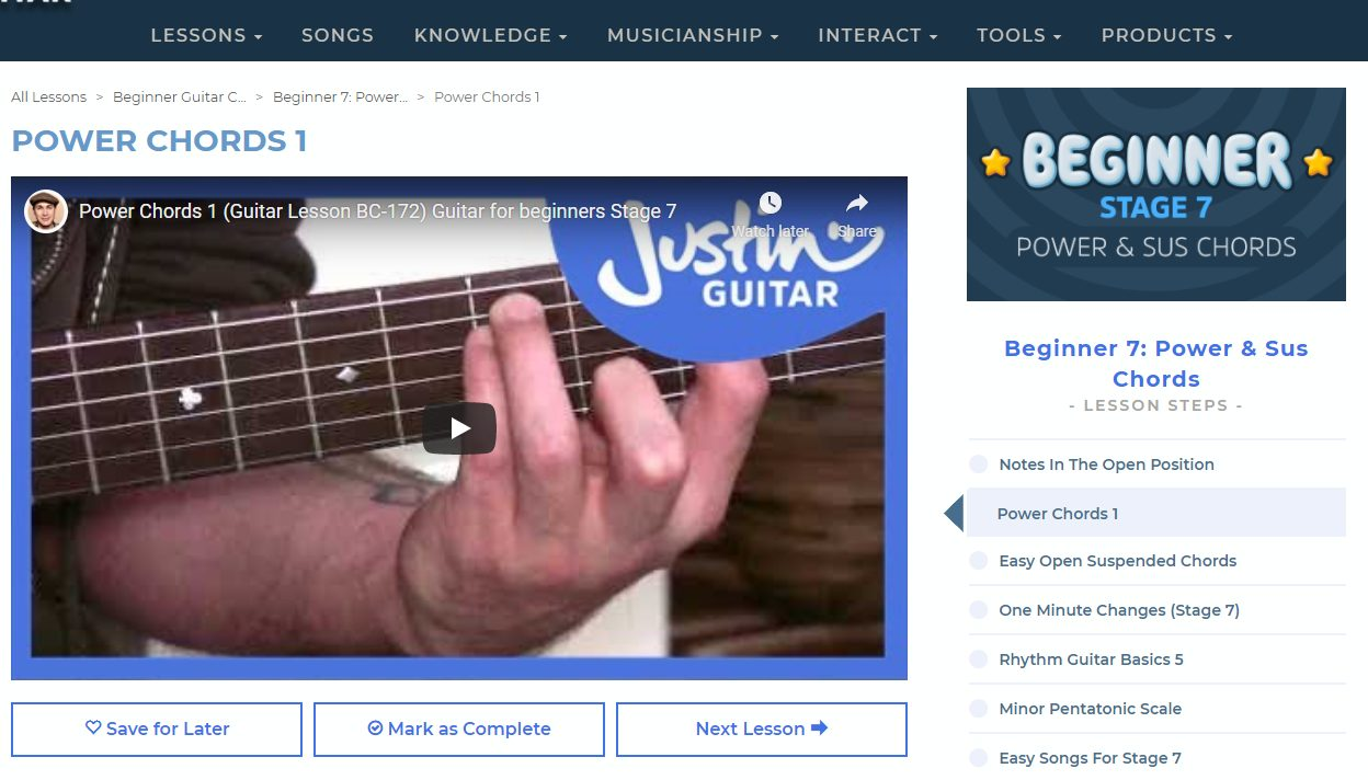 Justinguitar Beginner 7 Section with Power Chords