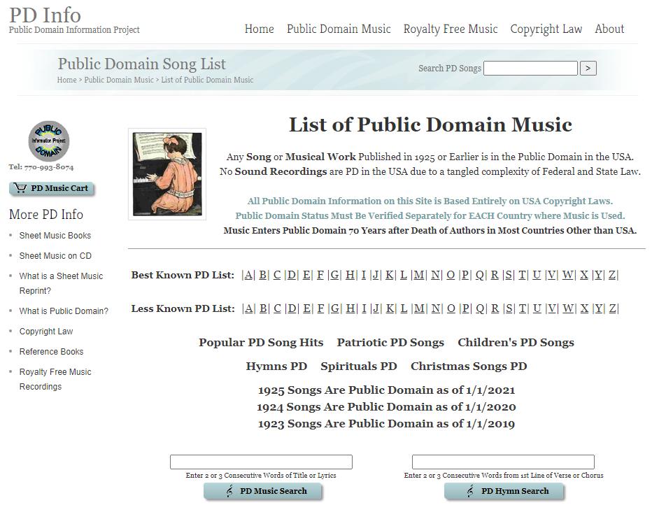 Public Domain Music Search