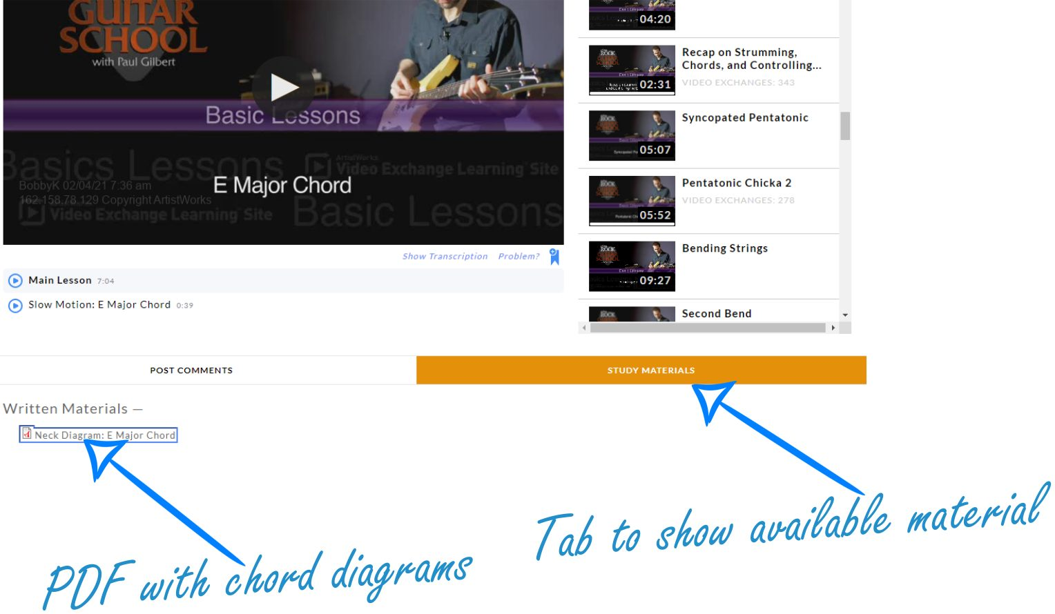 Supplemental Content in ArtistWorks Guitar Lesson Noted
