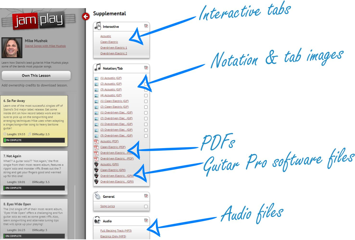 Supplemental Content in JamPlay (noted example)