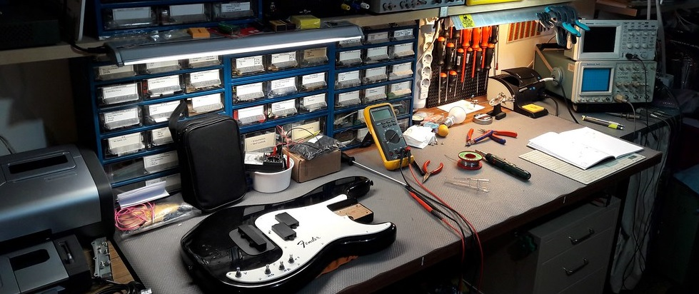 Fender Bass Being Worked on