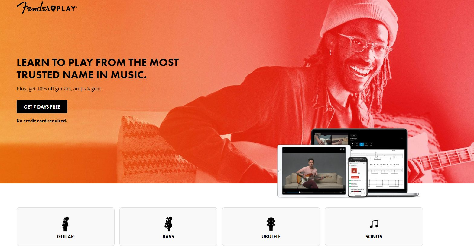 Fender Play Home Page (March 2021)