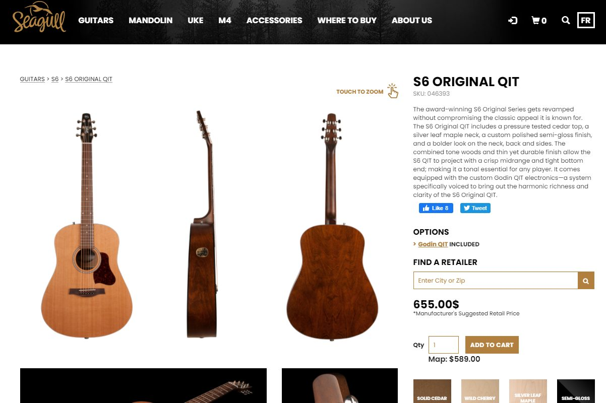 Seagull S6 Manufacturer Page