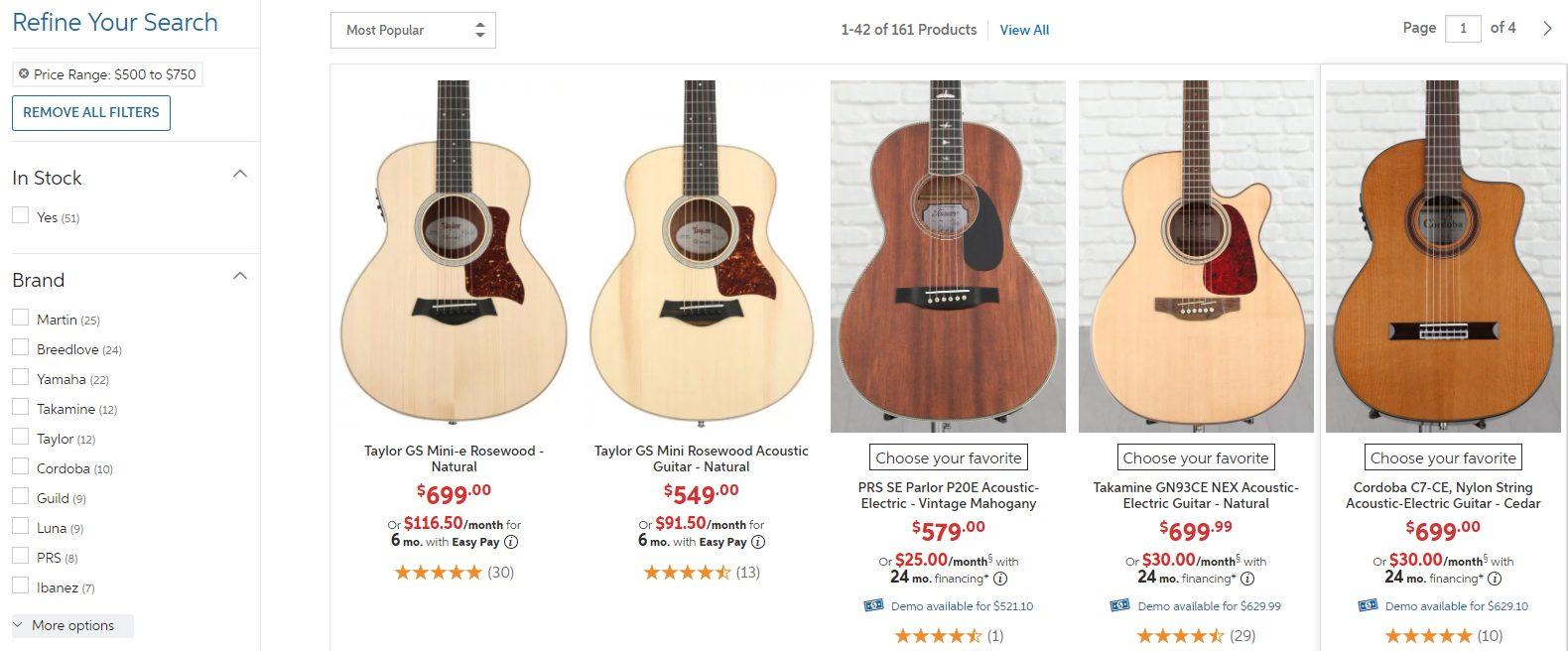Top Guitar Options in 500 to 700 Dollar Price Range