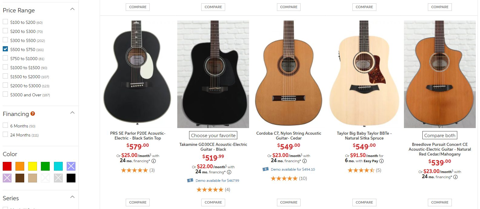 Top Guitar Options (second line) in 500 to 700 Dollar Price Range