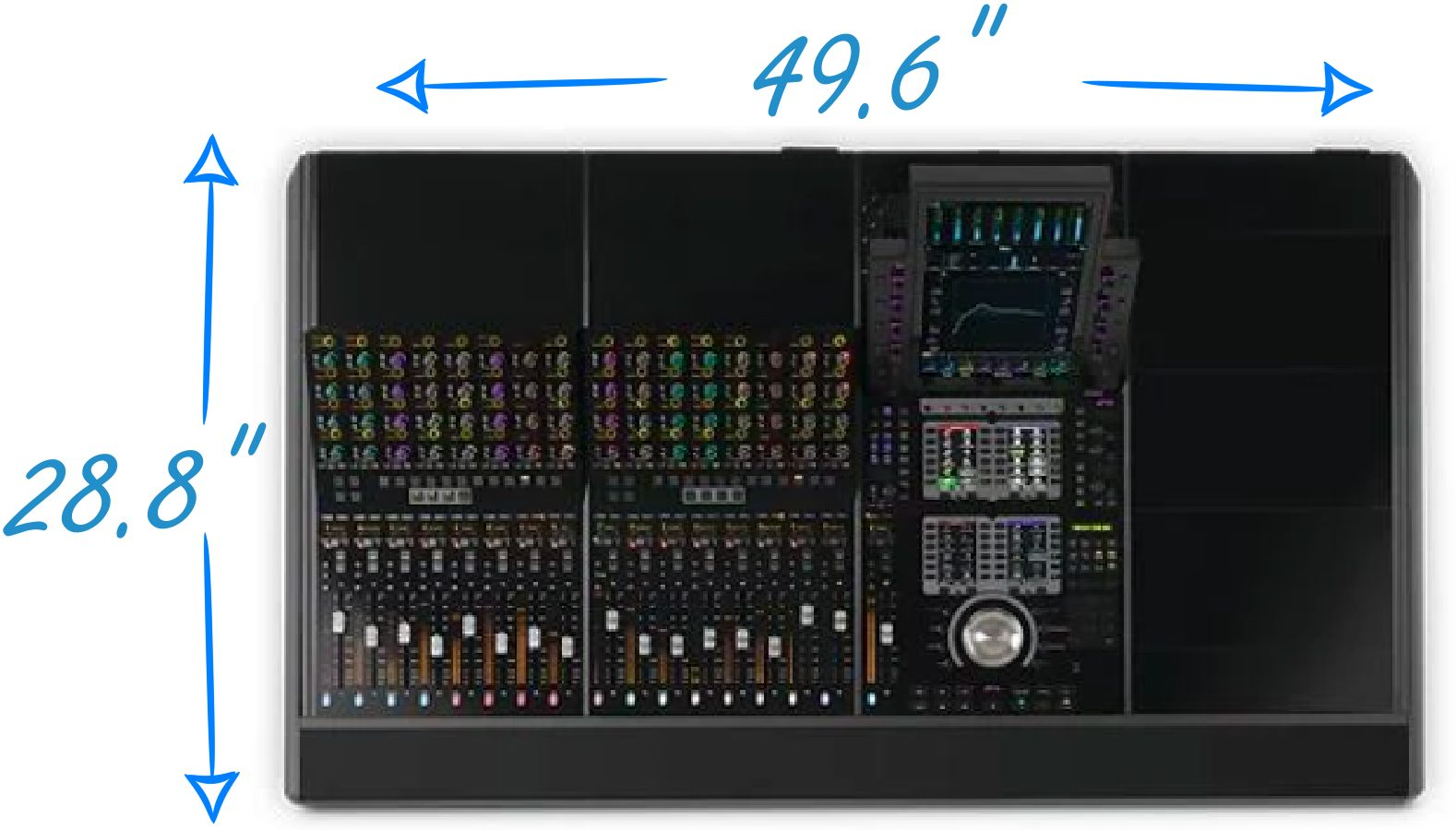 Avid S4 Dimensions for 16-Channel Version