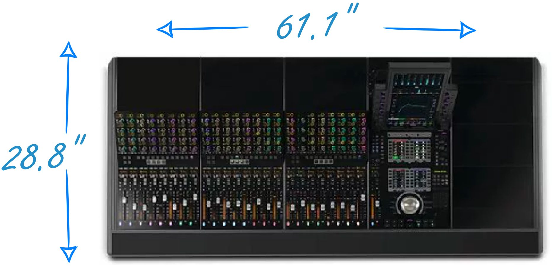 Avid S4 Dimensions for 24 -Channel Version