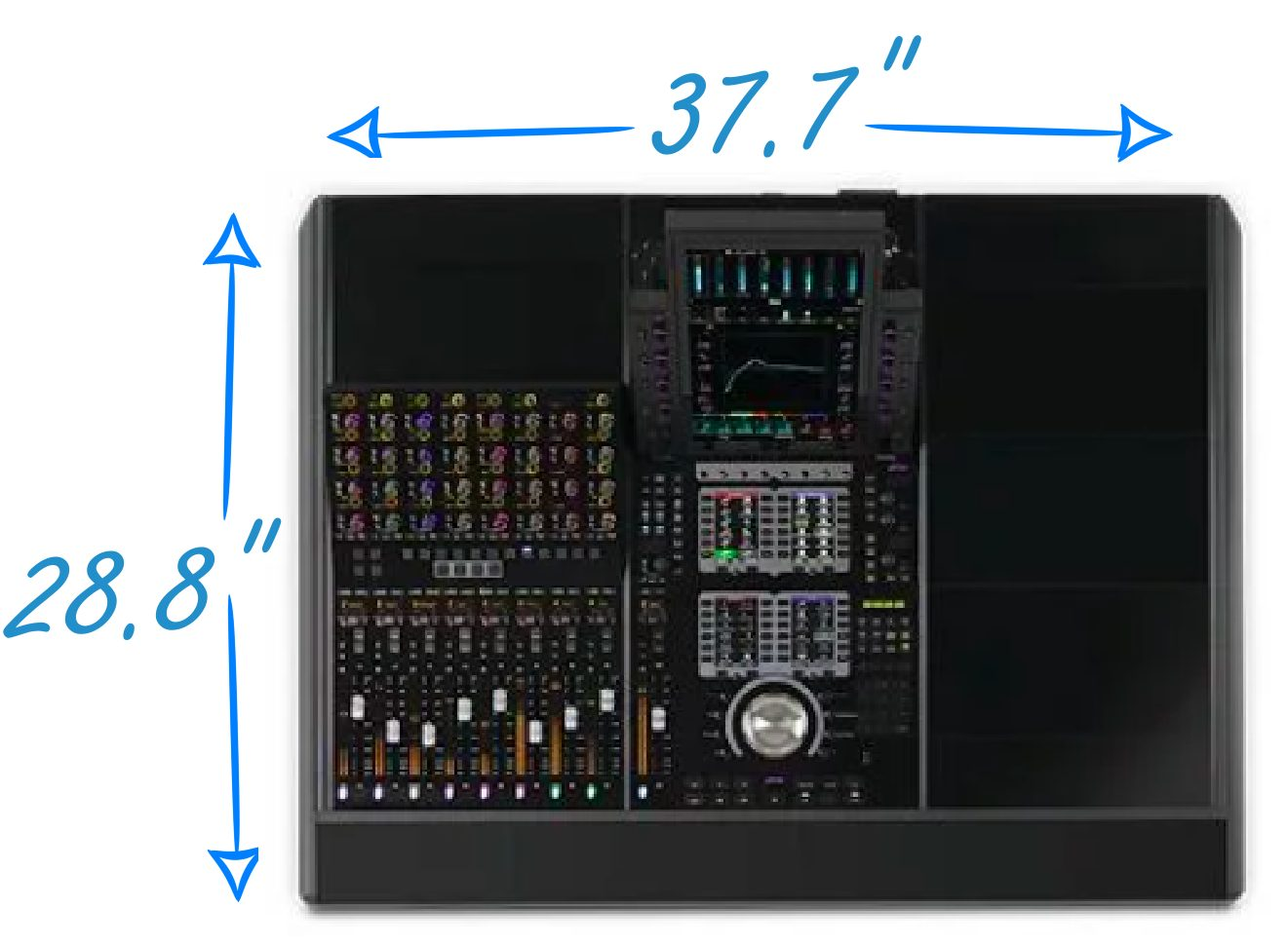 Avid S4 Dimensions for 8-Channel Version