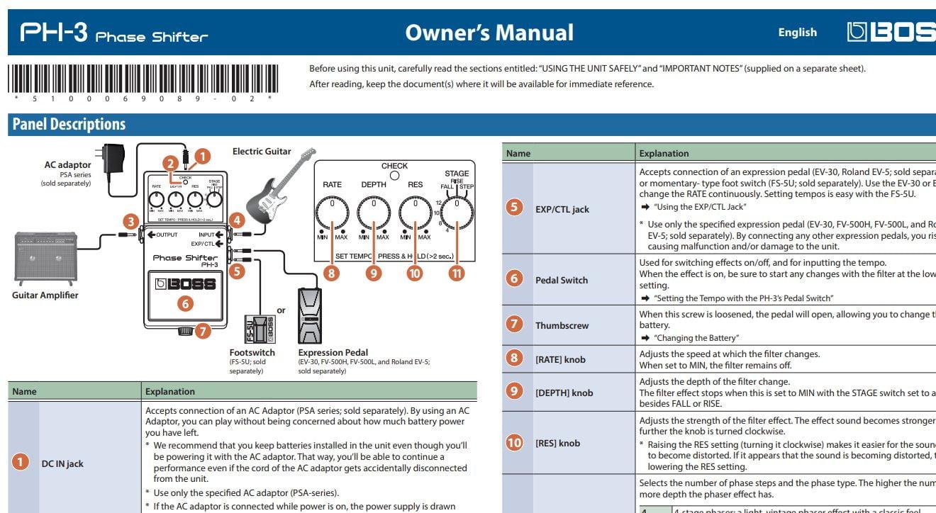 Boss PH-3 User Manual Clip