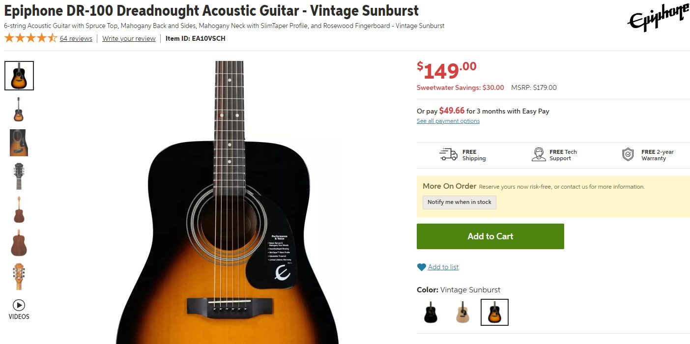 Epiphone DR-100 Price in Sweetwater