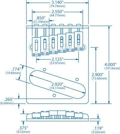 Gotoh Modern Bridge for Telecaster - Measurements