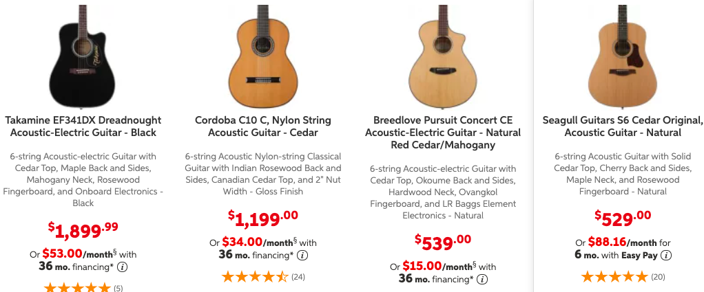 Pricing Example for Acoustic Guitars with a Cedar Top