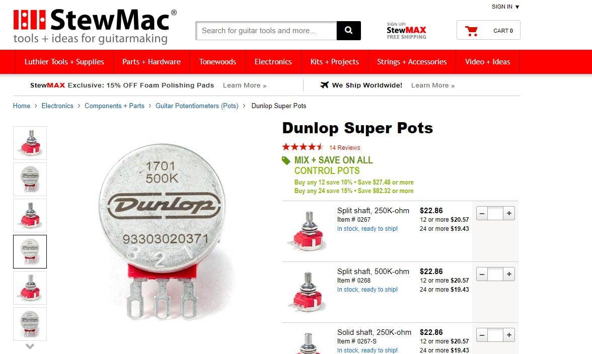 Stewmac Screenshot of Jim Dunlop Super Pots