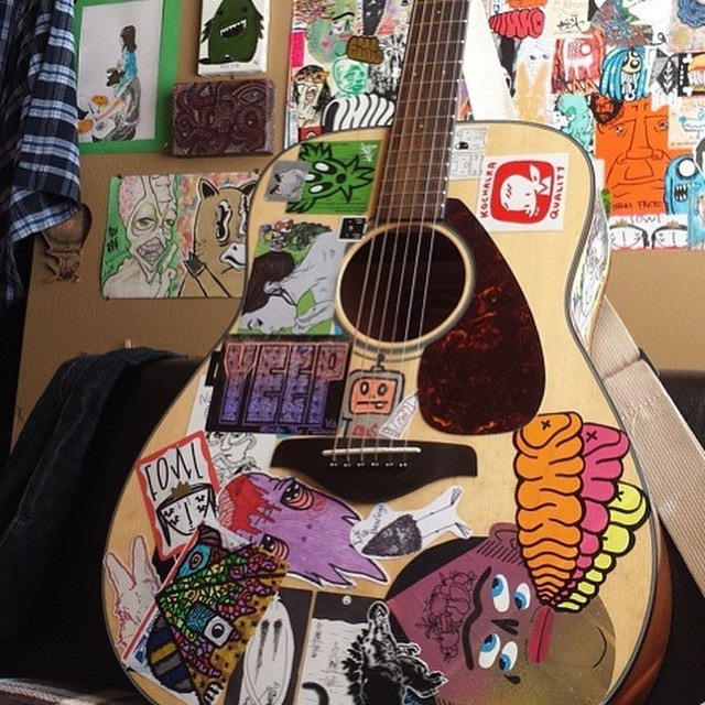Acoustic Guitar with Stickers