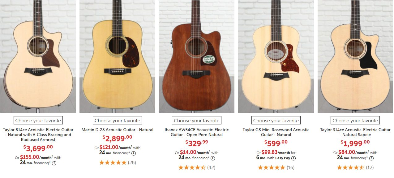 Best-Selling Acoustic Guitars on Sweetwater