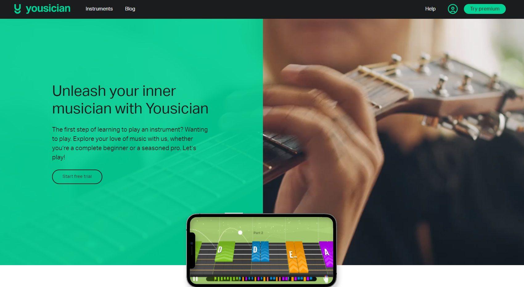 Yousician Homepage - June 2021