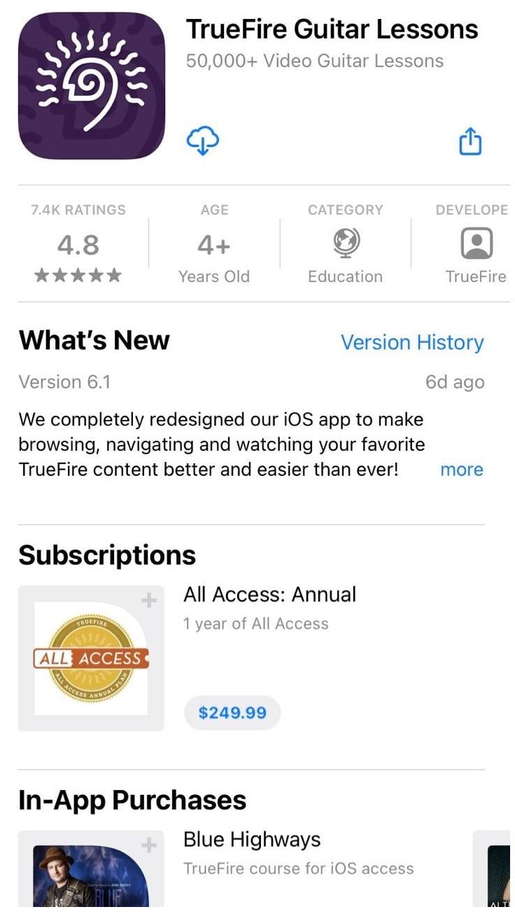 TrueFire iPhone App