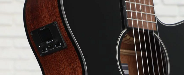 Tuner on the Outside of an Ibanez Acoustic Guitar (banner)